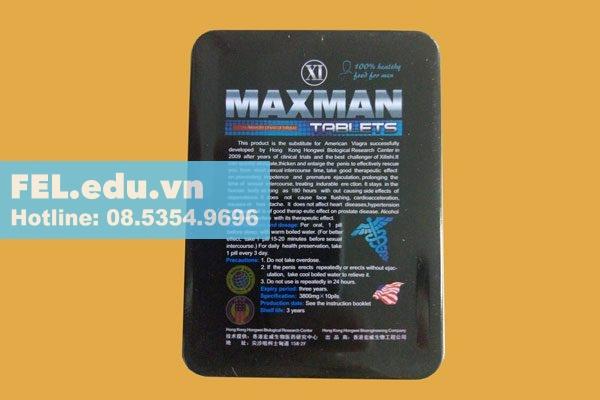 Mặt sau của hộp Maxman 3800mg