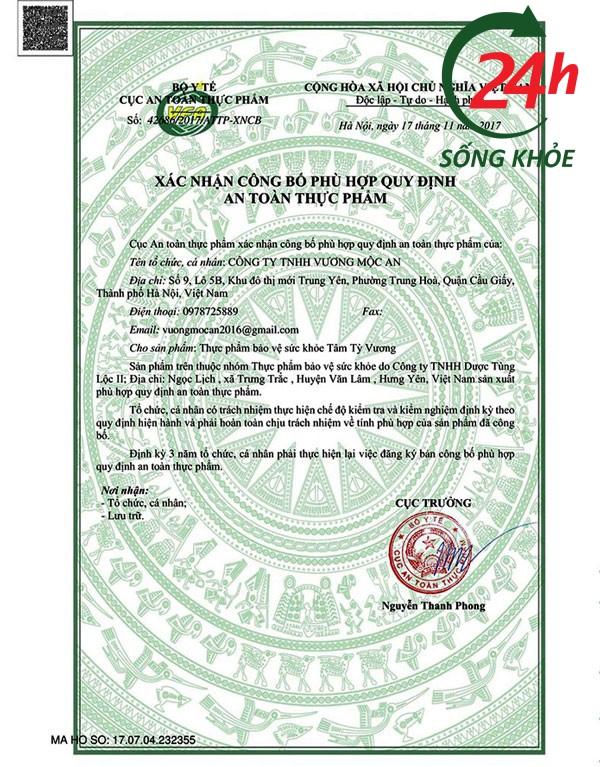Xác nhận Tâm Tỳ Vương hợp quy định an toàn thực phẩm