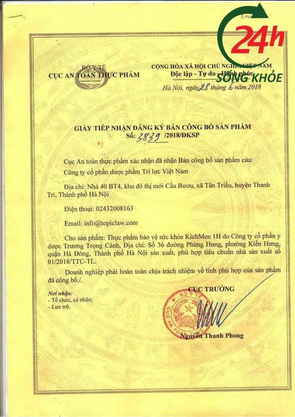 Giấy phép của Cục An toàn Thực phẩm- Bộ Y tế cho sản phẩm Kichmen 1h