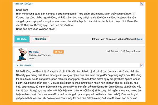 Review An Trĩ Vương trên webtretho