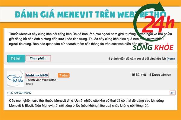 Đánh giá Menevit Webtretho