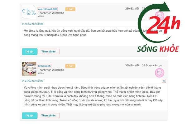 Review Tinh hàu biển OB của người dùng trên webtretho