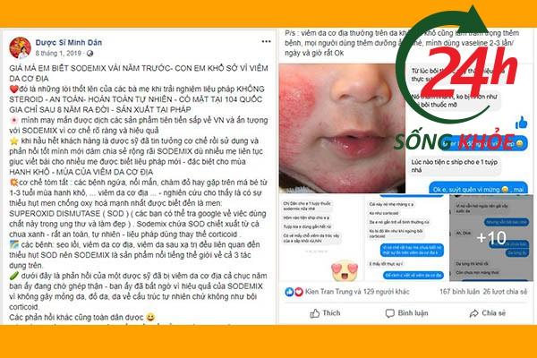 Đây là một bài chia sẻ của Dược sĩ Minh Dân về công dụng trị chàm sữa, viêm da cơ địa ở trẻ nhỏ của SODERMIX