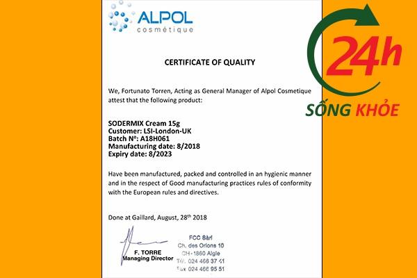CQ của Sodermix - Giấy chứng nhận chất lượng theo tiêu chuẩn Châu Âu