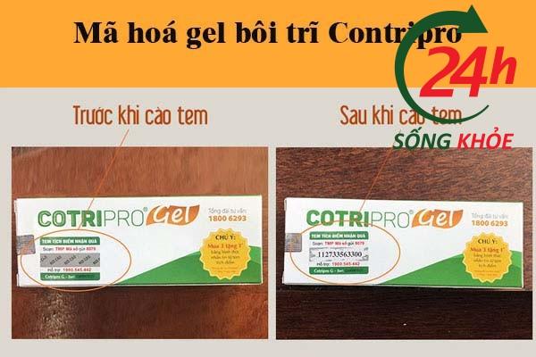 Hình ảnh: Mã tem trên gel bôi trĩ Contripro