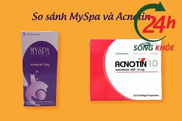 MySpa và Acnotin đều là thuốc chứa thành phần Isotretinoin 10mg