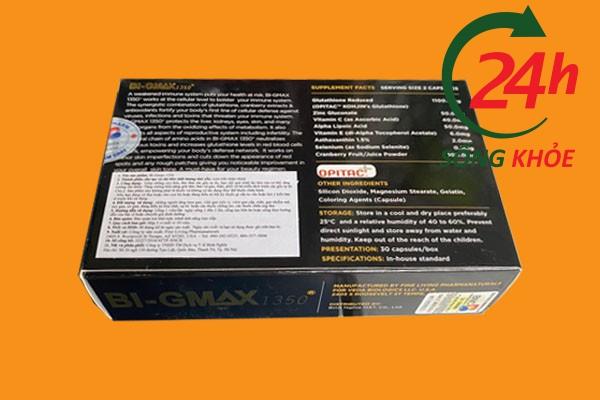 Thành phần và hàm lượng của Bi - Gmax được in trên vỏ hộp