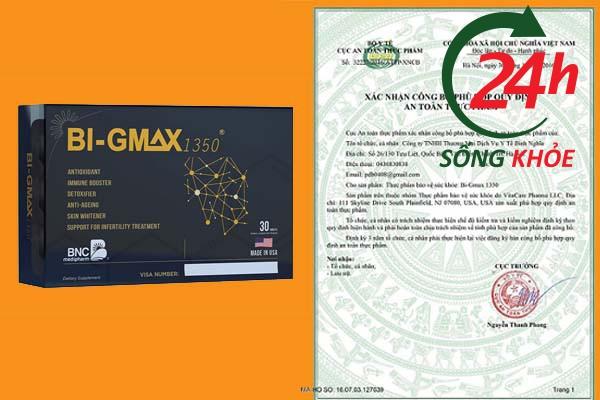 Giấy chứng nhận an toàn thực phẩm của Bi - Gmax