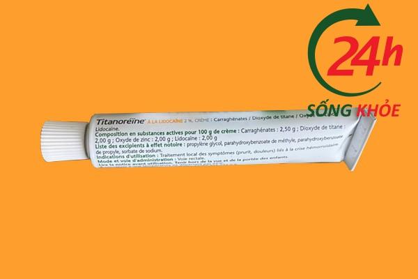 Thành phần của Titanoreine được in trên sản phẩm