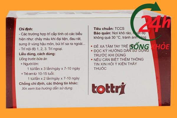 Hướng dẫn cách sử dụng thuốc Tottri cũng được in trên bao bì