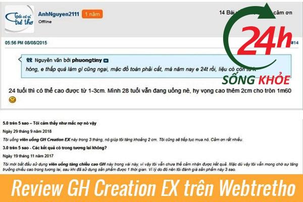 Review thuốc tăng chiều caoGH Creation EX Webtretho