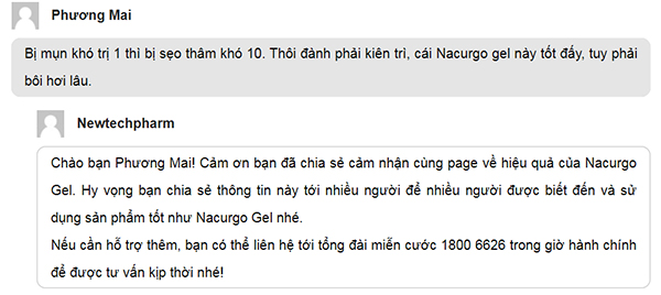 Review Nacurgo gel của người dùng