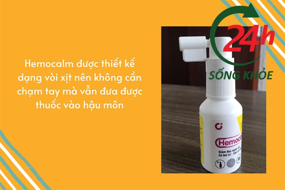 Hemocalm được thiết kế dạng vòi xịt nên rất tiện lợi khi sử dụng, không cần dùng tay bôi thuốc
