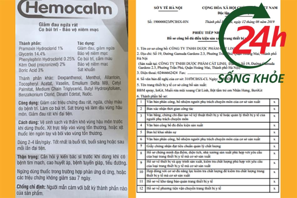 Sản phẩm Hemocalm đã được Bộ Y tế cấp giấy phép lưu hành toàn quốc