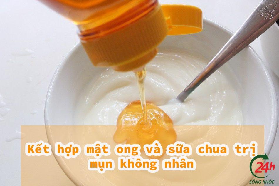 Kết hợp mật ong và sữa chua trị mụn không nhân