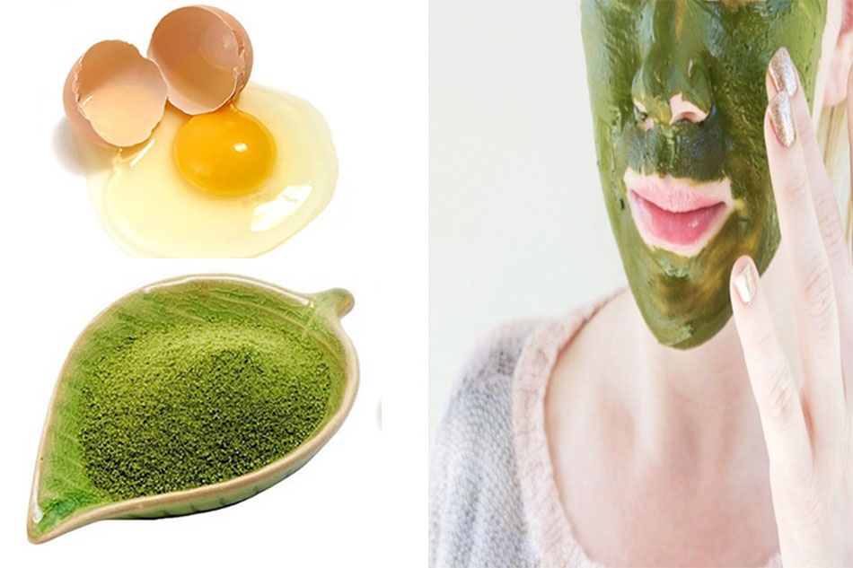 Mặt nạ bột trà xanh và trứng trị mụn ẩn