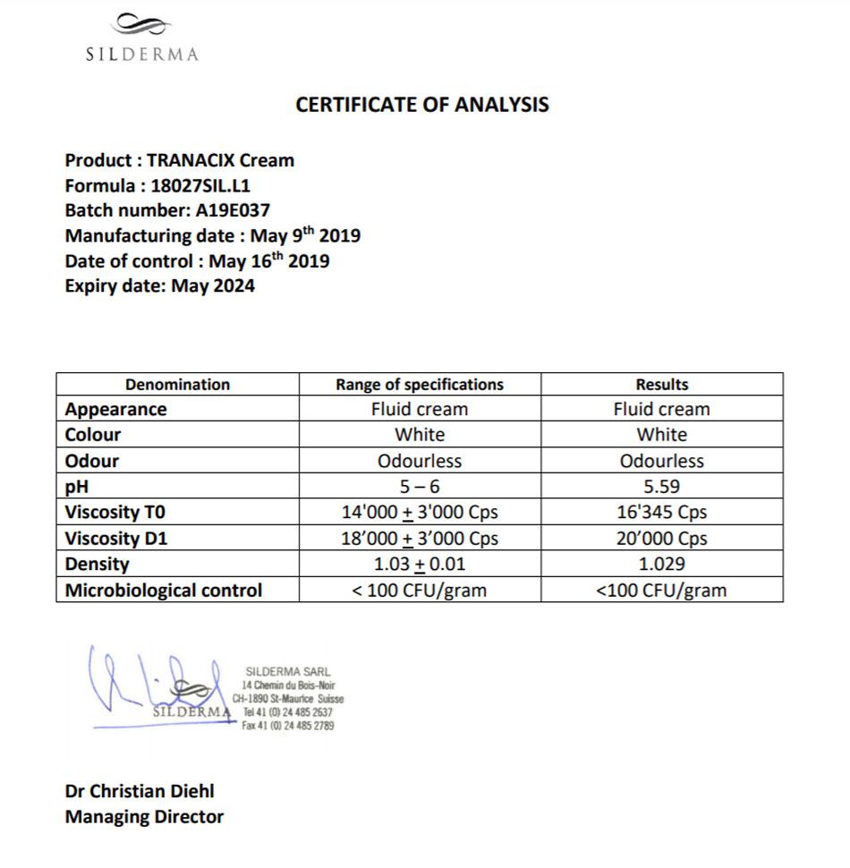 CoA - Giấy chứng nhận phân tích thành phần trong Tranacix đảm bảo đúng tiêu chuẩn hàm lượng và độ an toàn cho người sử dụng