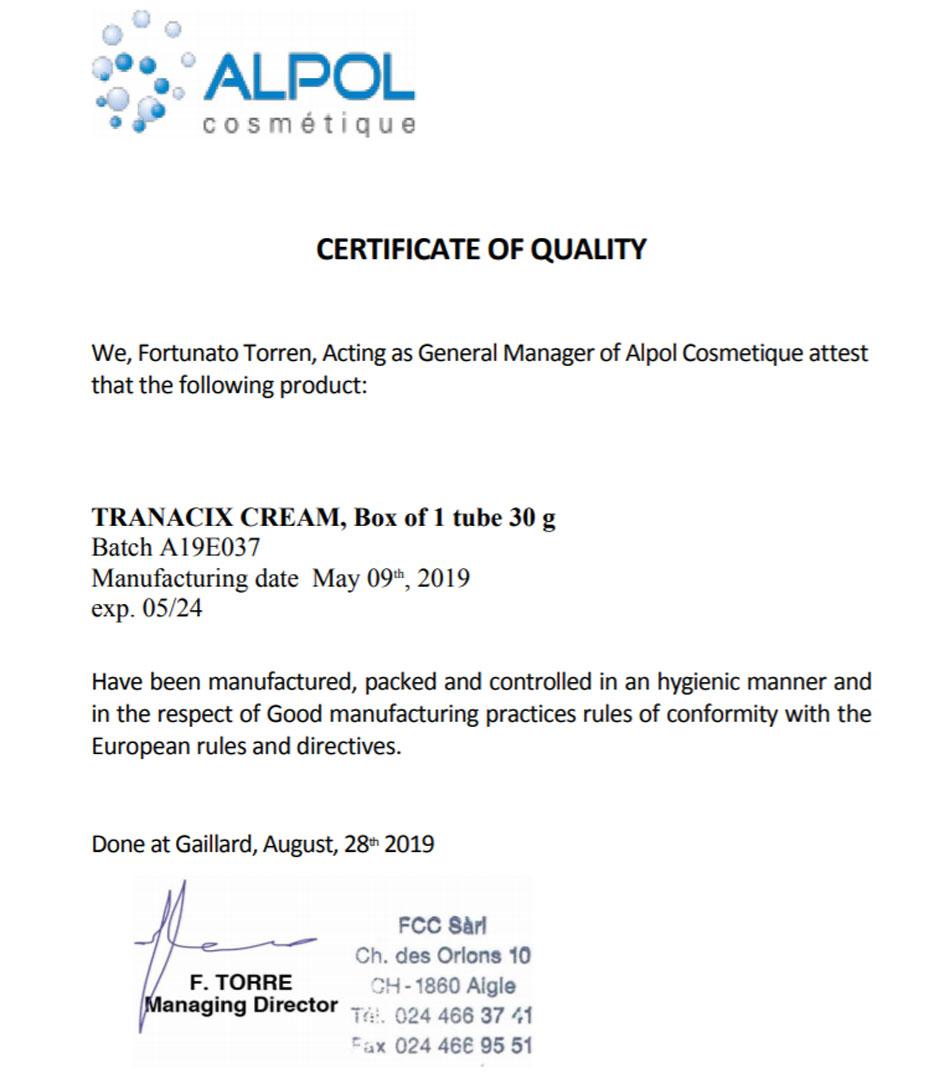 CQ - Giấy chứng nhận chất lượng theo tiêu chuẩn Châu u của Tranacix