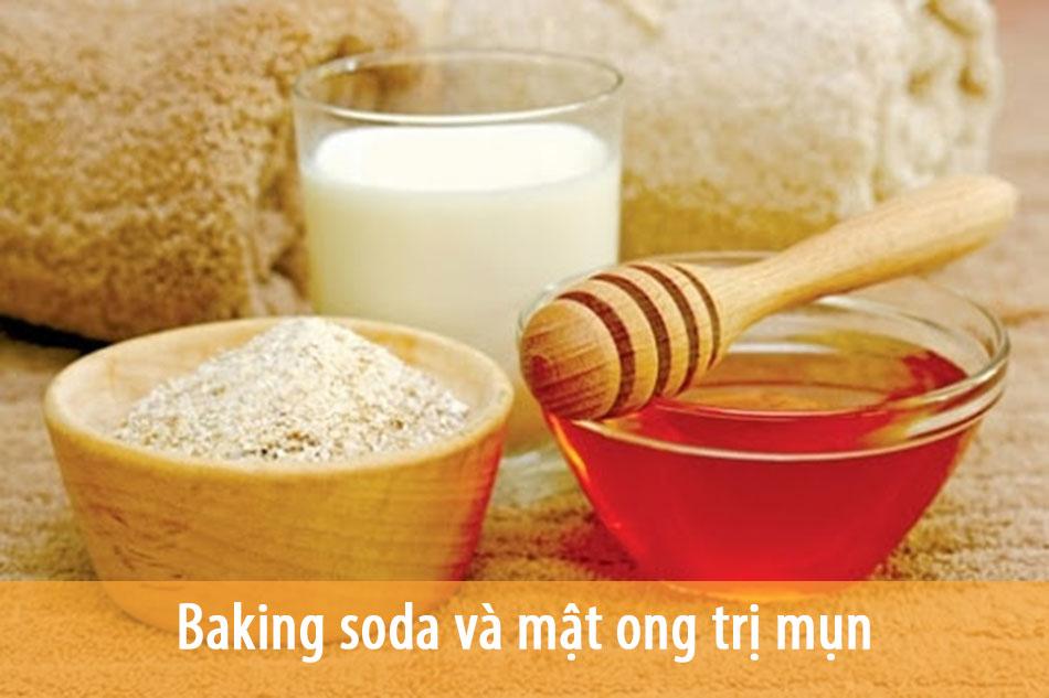 Baking soda và mật ong giúp trị mụn