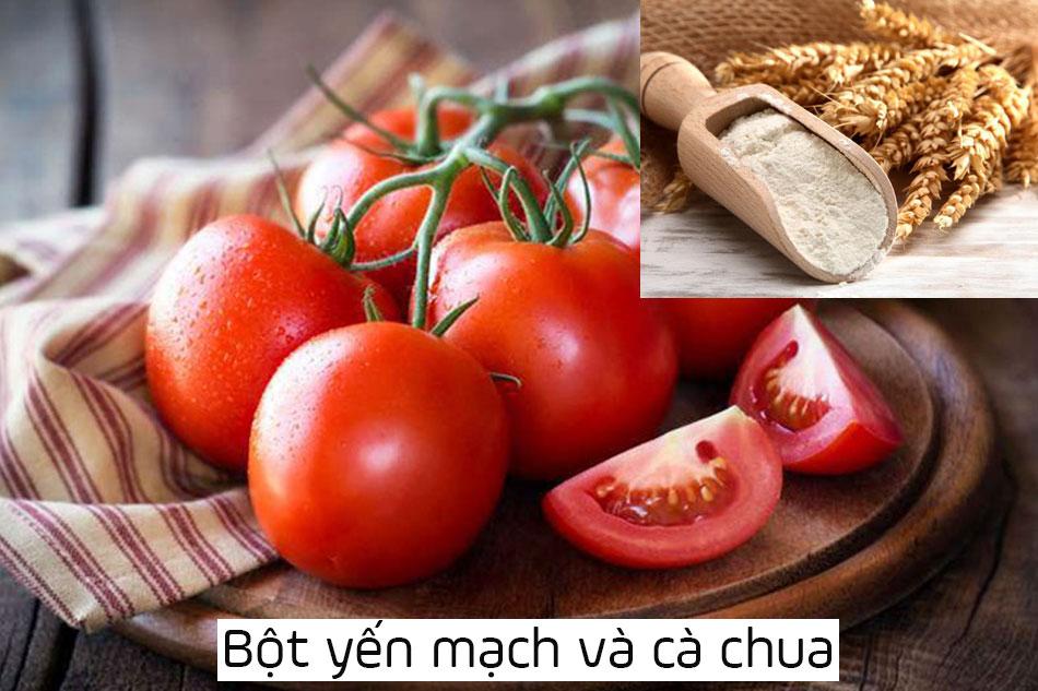 Công thức mặt nạ bột yến mạch trị mụn kết hợp cà chua