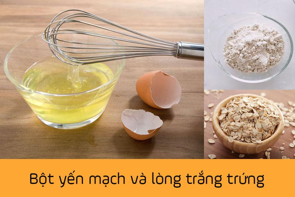 Sử dụng mặt nạ trị mụn từ bột yến mạch và lòng trắng trứng