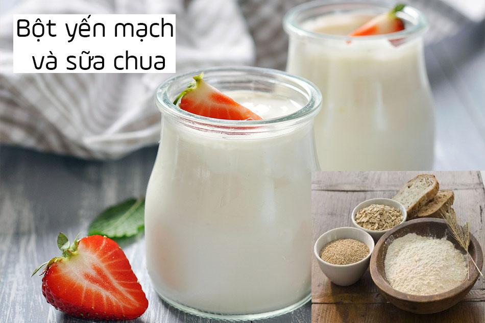 Trị mụn ẩn dưới da bằng bột yến mạch và sữa chua