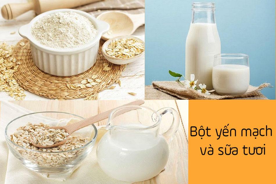 Bột yến mạch trị mụn kết hợp cùng sữa tươi
