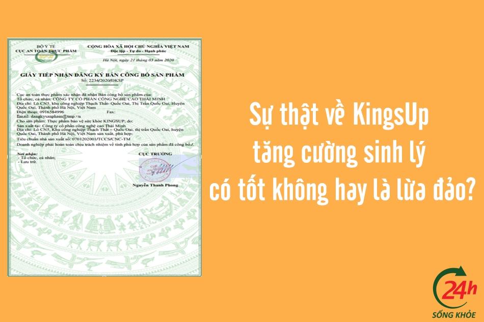KingsUp được Bộ Y tế cấp phép