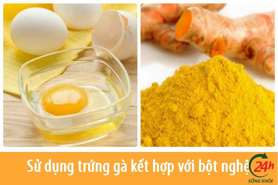 Sử dụng trứng gà kết hợp với bột nghệ