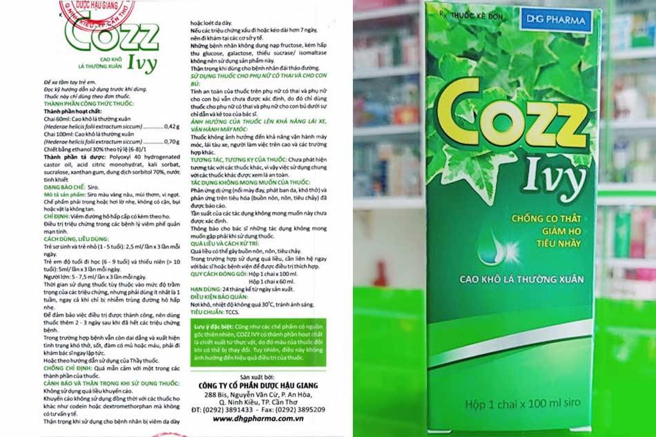 Cách sử dụng - Liều dùng thuốc ho Cozz Ivy