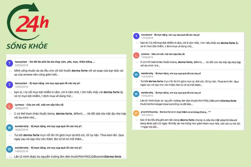 review kem trị mụn derma forte trên webtretho